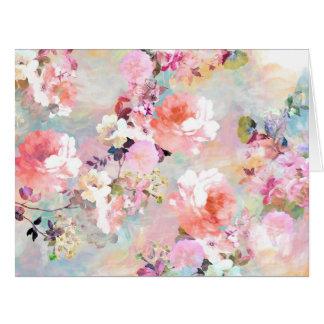 Estampado de flores rosado romántico de la moda de tarjeta de felicitación grande