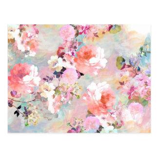 Estampado de flores rosado romántico de la moda de tarjeta postal