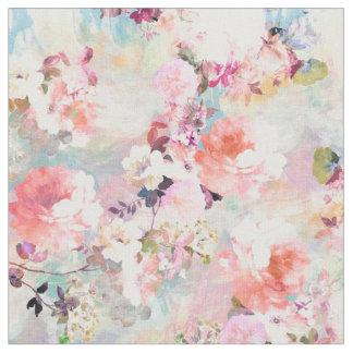 Estampado de flores rosado romántico de la moda de telas