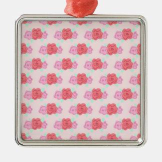 Estampado de flores rosado, rosas de Digitaces Adornos De Navidad