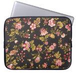 Estampado de flores rosado y amarillo del vintage funda computadora