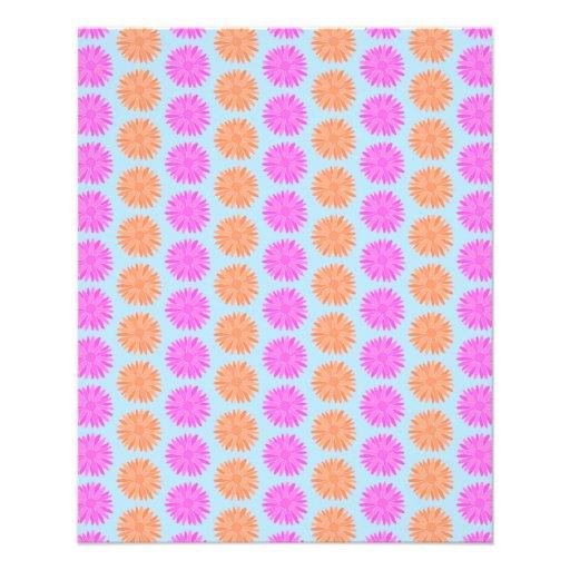 Estampado de flores rosado y anaranjado en azul cl tarjetas informativas