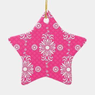 Estampado de flores rosado y blanco femenino brill ornamente de reyes