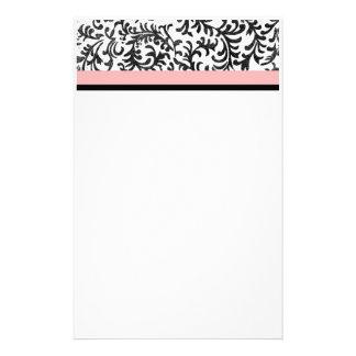 Estampado de flores rosado y negro papelería de diseño