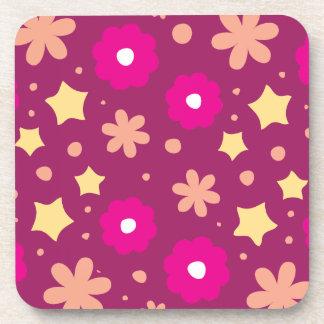 Estampado de flores rosado y púrpura sabroso posavaso