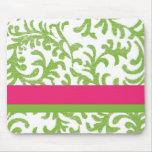 Estampado de flores rosado y verde tapete de raton