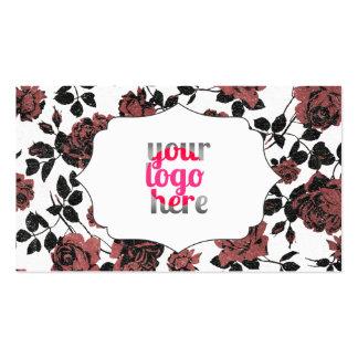 Estampado de flores subió vintage rojo negro tarjetas de visita