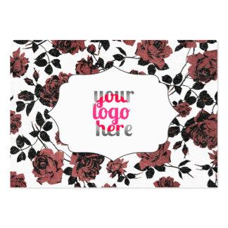 Estampado de flores subió vintage rojo negro tarjetas de visita grandes