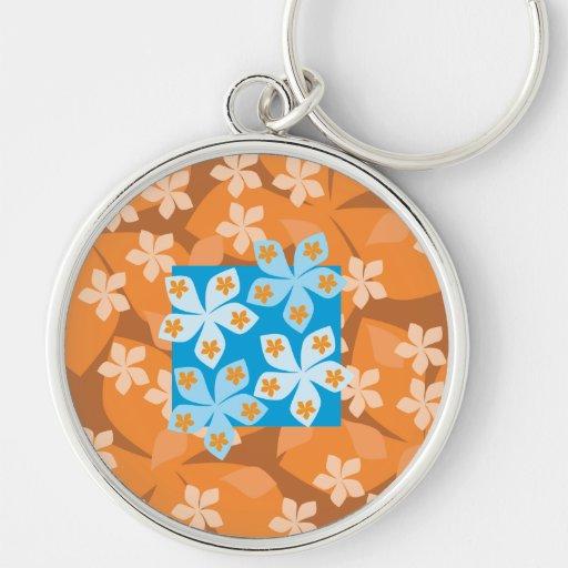 Estampado de flores tropical. Azul y naranja Llavero Personalizado