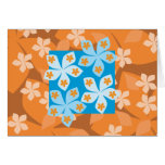 Estampado de flores tropical. Azul y naranja Tarjetón