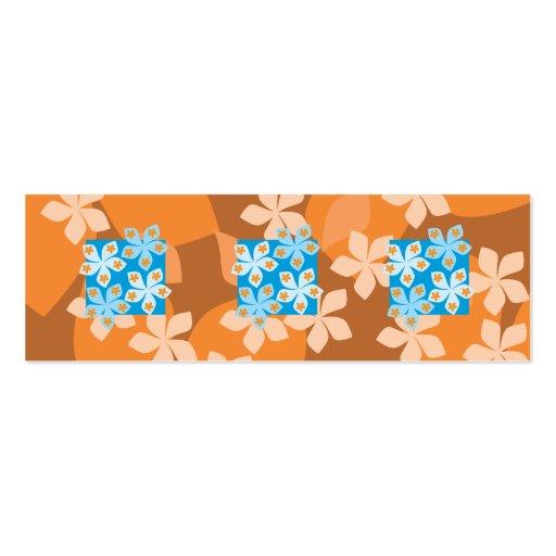 Estampado de flores tropical. Azul y naranja Plantillas De Tarjetas De Visita