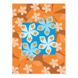 Estampado de flores tropical. Azul y naranja Postales