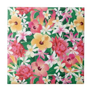 Estampado de flores tropical del hibisco azulejo cuadrado pequeño