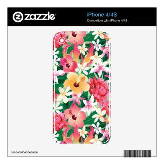 Estampado de flores tropical del hibisco iPhone 4 calcomanía