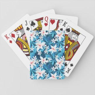 Estampado de flores tropical del hibisco cartas de póquer