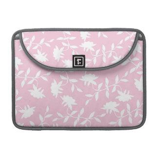 Estampado de flores tropical rosa claro fundas para macbooks