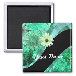 Estampado de flores verde bonito imán cuadrado