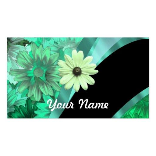 Estampado de flores verde bonito tarjetas de visita