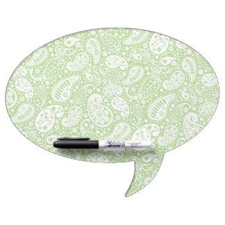 Estampado de flores verde claro de Paisley Pizarra Blanca