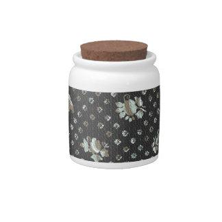 Estampado de flores verde de Brown Jarras Para Caramelos