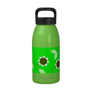 Estampado de flores verde de la primavera botella de agua reutilizable