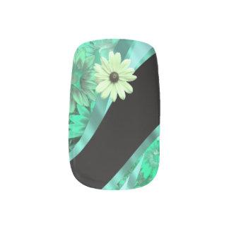 Estampado de flores verde de la primavera arte para uñas