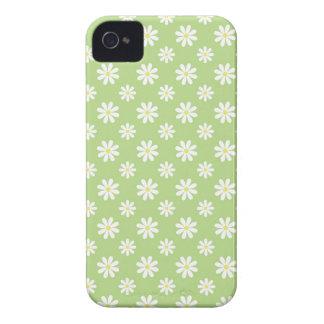 Estampado de flores verde de las margaritas iPhone 4 Case-Mate cobertura