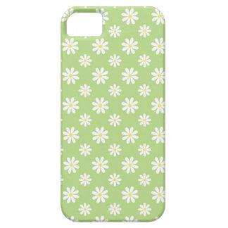 Estampado de flores verde de las margaritas iPhone 5 funda