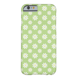 Estampado de flores verde de las margaritas funda para iPhone 6 barely there
