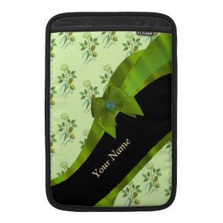 Estampado de flores verde en colores pastel bonito funda macbook air