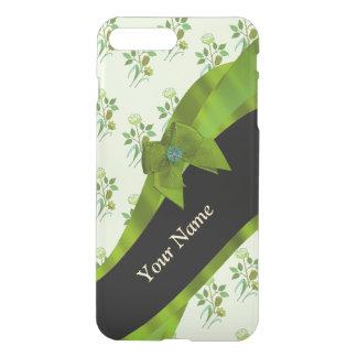 Estampado de flores verde en colores pastel bonito fundas para iPhone 7 plus