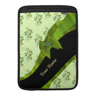 Estampado de flores verde en colores pastel bonito fundas para macbook air
