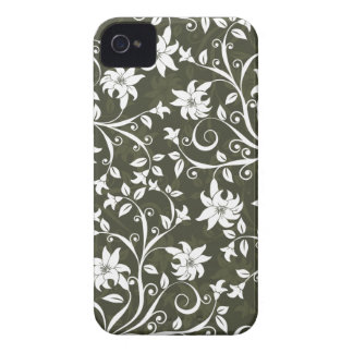 Estampado de flores verde oliva de Trumpetflower iPhone 4 Case-Mate Protector