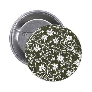 Estampado de flores verde oliva de Trumpetflower Pin Redondo 5 Cm