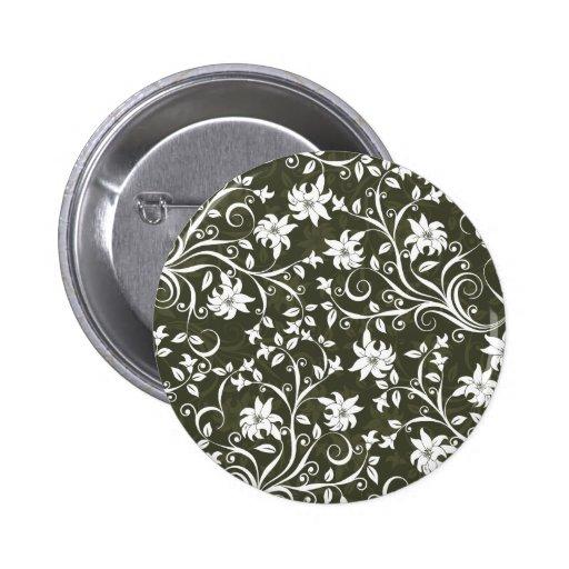 Estampado de flores verde oliva de Trumpetflower Pin Redondo De 2 Pulgadas