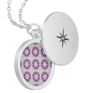 Estampado de flores verde púrpura rosado abstracto medallón
