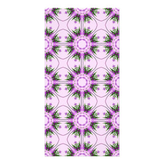 Estampado de flores verde púrpura rosado abstracto tarjeta personal con foto
