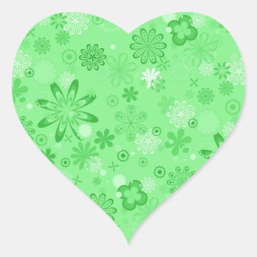 Estampado de flores verde romántico calcomania de corazon personalizadas