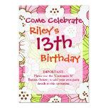 Estampado de flores verde rosado bonito de la invitación 12,7 x 17,8 cm