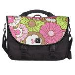 Estampado de flores verde rosado bonito de la prim bolsas para portatil