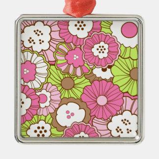 Estampado de flores verde rosado bonito de la prim adorno de reyes