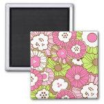 Estampado de flores verde rosado bonito de la prim imán para frigorifico