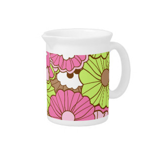 Estampado de flores verde rosado bonito de la prim jarras para bebida