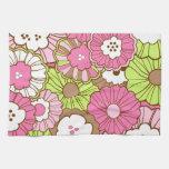 Estampado de flores verde rosado bonito de la prim toalla de mano