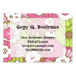 Estampado de flores verde rosado bonito de la prim plantilla de tarjeta de negocio
