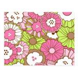 Estampado de flores verde rosado bonito de la prim tarjeta postal