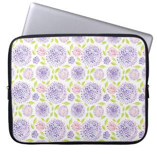 Estampado de flores verde rosado púrpura lindo col manga portátil