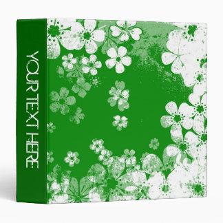 """Estampado de flores verde y blanco y diseño carpeta 1 1/2"""""""