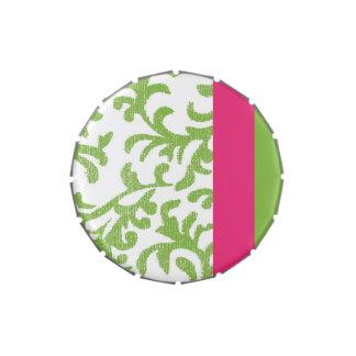 Estampado de flores verde y rosado frascos de dulces