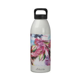 Estampado de flores vibrante de moda hawaiano botellas de agua reutilizables